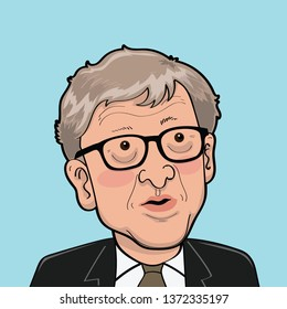 Bill Gates and the Making of the Microsoft Empire Harper Business. Vector Caricature Illustration.April 17,2019