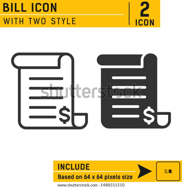 Bill Icon Line Solid Style Invoice Stock Vector Royalty