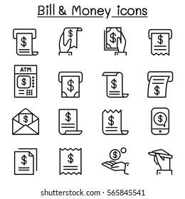 Bill & money icon set in thin line style