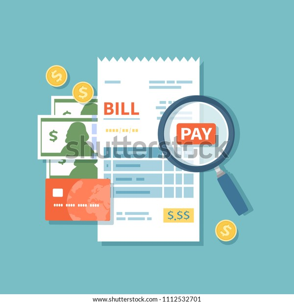 Bill Paying Paper Check Reciept Invoice Stock Vector