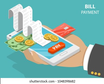 Bill payment flat isometric vector concept of mobile payment, shoping, banking.