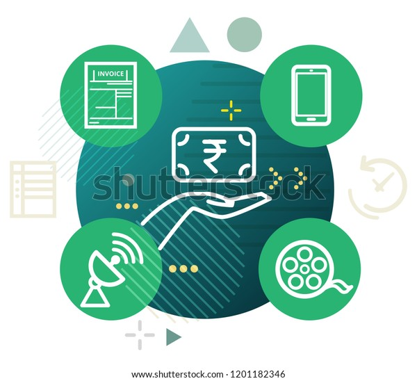 Bill Payment Recharge Services Abstract Illustration Stock