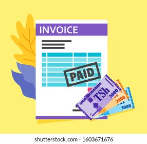 Bill Receipt or Invoice Payment using Tanzanian Shilling Money vector illustration flat design. Payment and finance element.  Can be used for web and mobile, infographic and print.