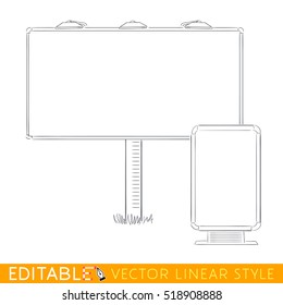 Billboard and citylight template. Editable outline sketch. Stock vector illustration.