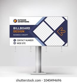 Billboard design, banner layout for outdoor advertising, template for photo and text. Creative graphic background for the exhibition, presentation stand.