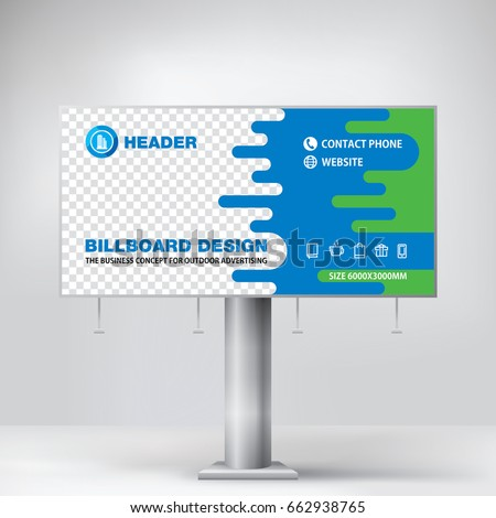 billboard design blue graphic stand outdoor stock vector royalty