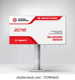 Billboard design, graphic template for placement advertising, ready layout banner for photos and text, red background vector