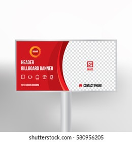 Billboard design, multipurpose banner template for posting photos and text, graphic background vector