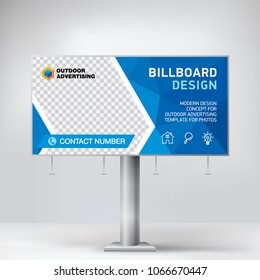 Billboard design, template banner for outdoor advertising, posting photos and text. Modern business concept. Creative blue background