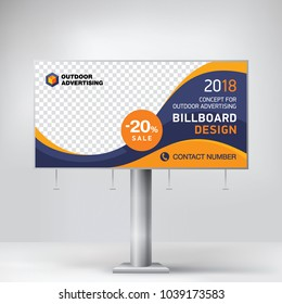 Billboard design, template for outdoor advertising, posting photos and text. Modern business concept. Creative background in EPS 10 format
