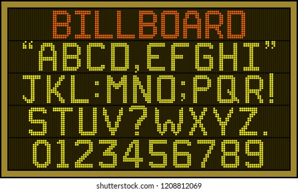 Billboard font - Retro LCD billboard with upper case alphabets, numerals and punctuation characters in round pixel font.