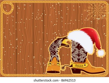 Billboard frame with cowboy boots and Santa's red hat on wood wall.Vector christmas background