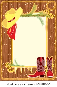 Billboard frame with cowboy hat and boots.Vector christmas background