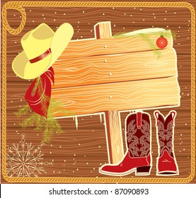 Billboard frame with cowboy hat.Vector christmas background