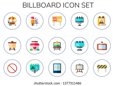 billboard icon set. 15 flat billboard icons.  Simple modern icons about  - stand, canvas, easel, advertising, artboard, poster, forbbiden, Billboard, ads, under construction