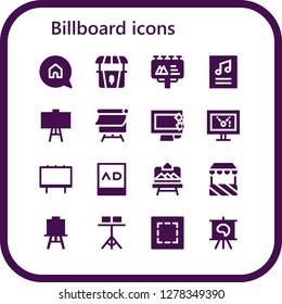 billboard icon set. 16 filled billboard icons. Simple modern icons about  - Advertising, Stand, Billboard, Poster, Canvas, Display, Ads, Artboard, Marquee