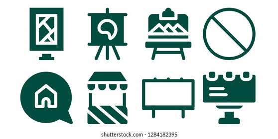 billboard icon set. 8 filled billboard icons. Simple modern icons about  - Advertising, Billboard, Stand, Canvas, Artboard, Forbbiden