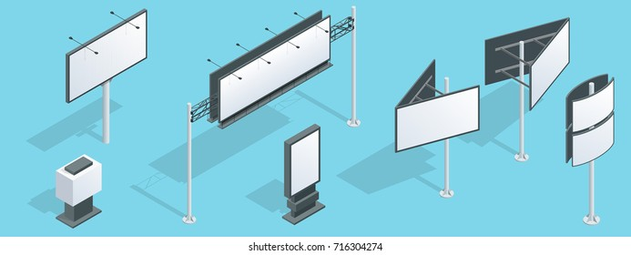 Billboard isometric. Set of different perspectives advertising construction for outdoor advertising big billboard on blue background isolated vector illustration