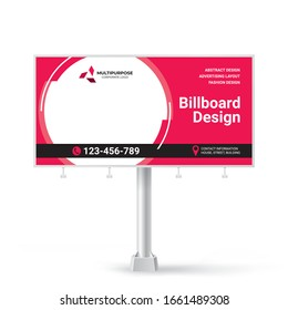 Billboard sign, banner design ideas for outdoor advertising, inspirational graphic design for placing photos and text, vector red background