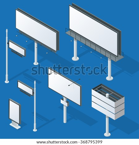 billboards outdoor advertisement templates flat 3 d stock vector