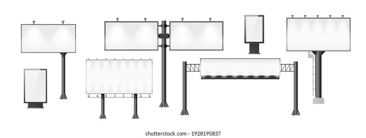 Billboards set. Different advertising mockup, blank signage empty construction for outdoor street advertisements. Vertical and horizontal banners. 3d vector illustration