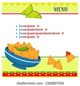 Billet layout for the menu. Mexican style. Hot pepper, nachos and lime. Vector on white background.