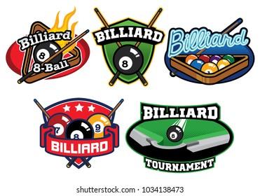 Billiard badge design set