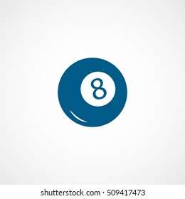 Billiard Ball 8 Blue Flat Icon On White Background