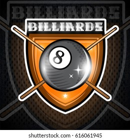 Billiard ball with crossed billiard cue in center of shield. Sport logo for any team or championship