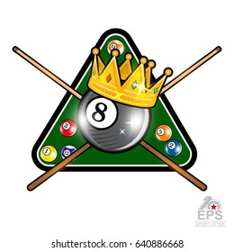 Billiard ball with crown and pyramid green table with crossed cues on whit. Sport logo for any team or championship