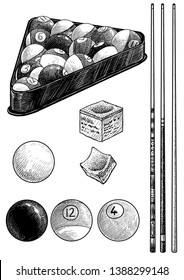 Billiard ball, cue, chalk illustration, drawing, engraving, ink, line art, vector