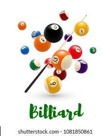 Billiard ball and cue poster. Billiards sport game tournament or snooker competition banner of colorful pool ball with numbers and billiard cue 3d illustration