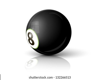billiard ball eight on a white background with the reflection