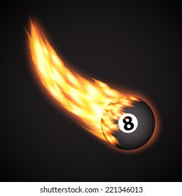 Billiard ball in fire. Sport background. EPS10 vector