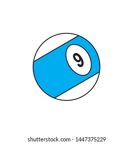 billiard ball flat line icon on white background. simple vector logo art for tournament illustration and sport apps. eps 10