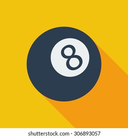 Billiard ball icon. Flat vector related icon with long shadow for web and mobile applications. It can be used as - logo, pictogram, icon, infographic element. Vector Illustration.