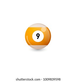Billiard ball with number 9