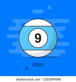 billiard ball with number 9 nine flat vector illustration. colorful logo art for tournament illustration and sport apps. eps 10