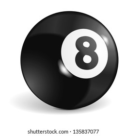 Billiard ball with number eight, vector eps10 illustration