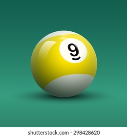 Billiard ball vector. Isolated striped color yellow and white billiard ball with number 9 on green table background.
