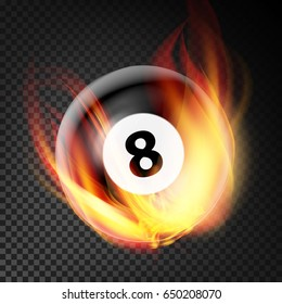 Billiard Ball Vector Realistic. Billiard Ball 8 In Burning Style Isolated On Transparent Background