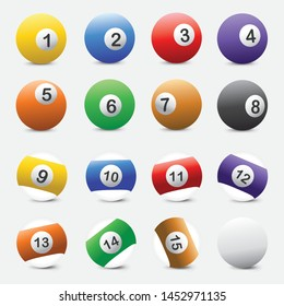 Billiard Ball Vector Set Icon