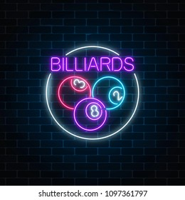 Billiard balls in circle frame in neon style. Glowing neon signboard of pub with billiards on brick wall background. Night advertising symbol of taproom with pool game. Vector illustration.