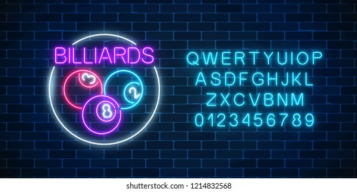 Billiard balls in circle frame in neon style with alphabet. Glowing neon signboard of pub with billiards on wall background. Night advertising symbol of taproom with pool game. Vector illustration.