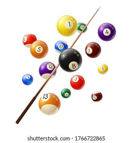 Billiard balls and cue 3d realistic vector. Various color billiard balls with digits flying in air, wooden cue isolated on white background. Snooker or pool club, sport competition equipment