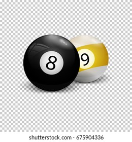 Billiard balls eight and nine on a transparent background. Realistic vector illustration.