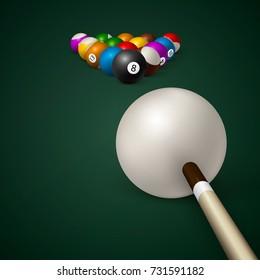 billiard balls. billiard green table. Vector illustration