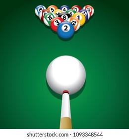 Billiard balls on green billiard table - illustration of the start of the game