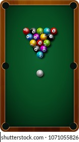 Billiard balls on table vector. Billiard game sport competition leisure illustration.