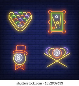 Billiard balls, table and triangle neon signs set. Billiards club and entertainment design. Night bright neon sign, colorful billboard, light banner. Vector illustration in neon style.